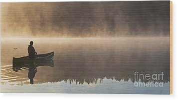 Canoeist On A Golden Misty Morning Wood Print by Barbara McMahon