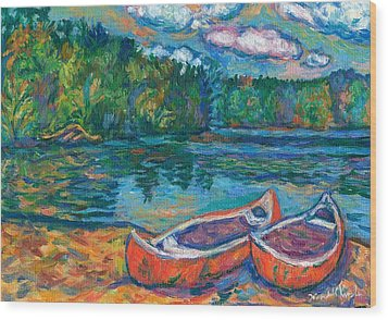 Canoes At Mountain Lake Sketch Wood Print by Kendall Kessler