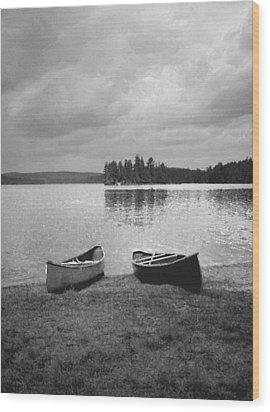 Canoes - Canisbay Lake - B N W Wood Print