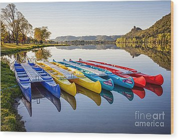 Canoes Color 2x3 Wood Print