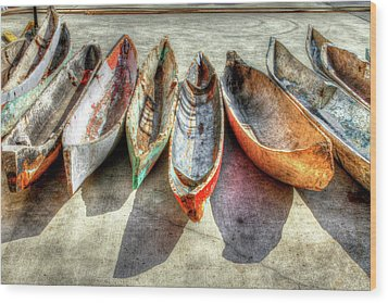 Canoes Wood Print by Debra and Dave Vanderlaan