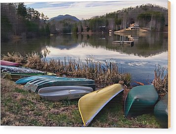 Canoes In Nc Wood Print