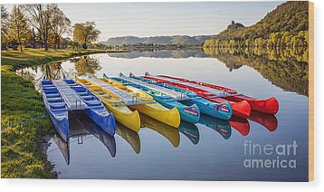 Wood Print featuring the photograph Canoes In The Early Morning II by Kari Yearous