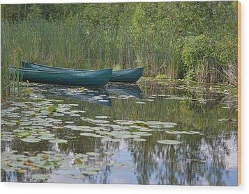 Canoes On Marshland Wood Print