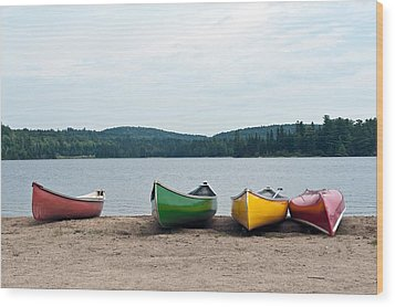 Wood Print featuring the photograph Canoes On The Lake by Marek Poplawski