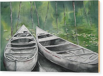 Canoes To Go Wood Print by Mary McCullah