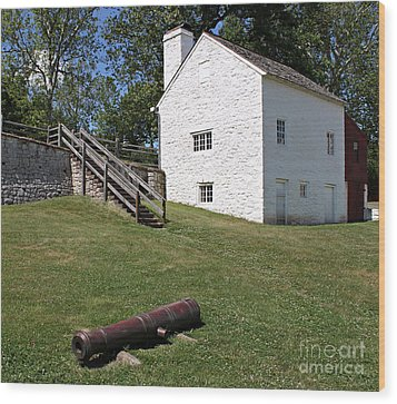 Canon And Building Wood Print by Robert Sander