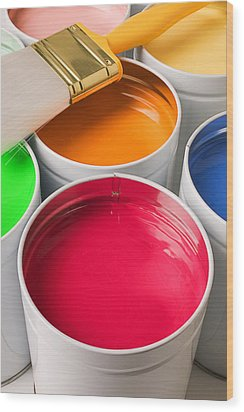 Cans Of Colored Paint Wood Print by Garry Gay