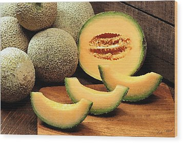 Cantaloupe Slices Wood Print by Cole Black