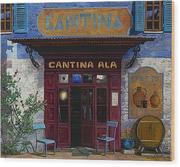 cantina Ala Wood Print by Guido Borelli