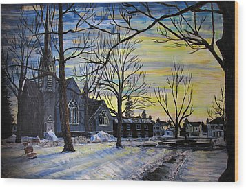 Canton Park Under January Sun Wood Print by Denny Morreale