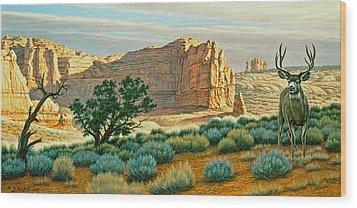 Canyon Country Buck Wood Print by Paul Krapf