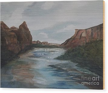 Wood Print featuring the painting Canyon De Chelly by Ellen Levinson