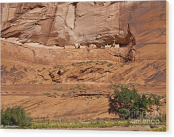 Canyon Dechelly Whitehouse Ruins Wood Print by Bob and Nadine Johnston