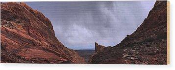 Canyon Entrance Distant Storm Wood Print by Maria Arango Diener