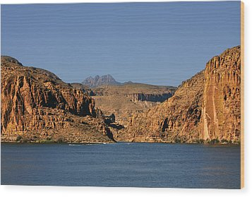 Canyon Lake Of Arizona - Land Big Fish Wood Print by Christine Till