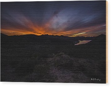 Canyon Lake Sunset Wood Print by Bill Cantey