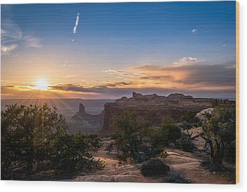 Canyon Lands Beautiful Sunset Wood Print by Michael J Bauer