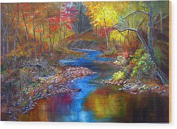 Wood Print featuring the painting Canyon River by LaVonne Hand