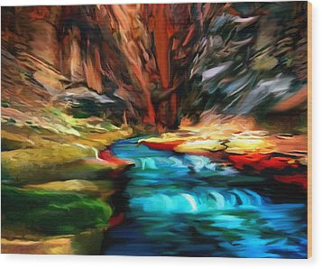 Canyon Waterfall Impressions Wood Print by Bob and Nadine Johnston