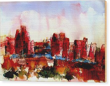 Wood Print featuring the painting Canyonlands 02 by Anne Duke