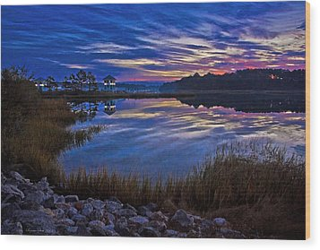 Cape Charles Sunrise Wood Print by Suzanne Stout