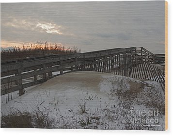 Cape Charles Winter Wood Print by Tannis  Baldwin