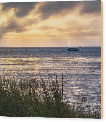Cape Cod Bay Square Wood Print by Bill Wakeley