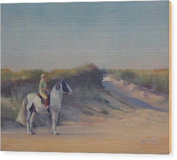 Cape Cod Beach Rider Wood Print by JT Harding