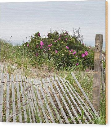 Cape Cod Beach Roses Wood Print by Michelle Wiarda