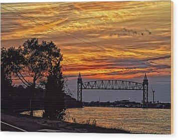 Cape Cod Canal Sunset  Wood Print