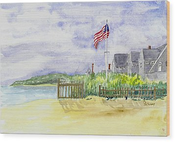 Massachusetts -cape Cod Cottages Wood Print by Christine Lathrop