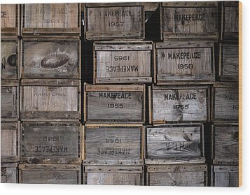 Cape Cod Cranberry Crates Wood Print by Andrew Pacheco