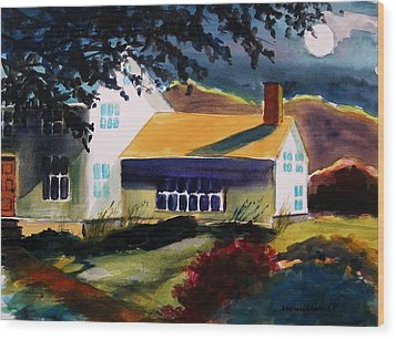 Cape Cod Moon Wood Print by John Williams