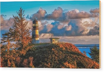 Cape Disappointment Light House Wood Print by James Heckt