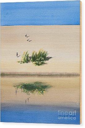 Cape Dune Watercolor Wood Print by Michelle Wiarda