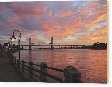 Cape Fear Bridge Wood Print by Cynthia Guinn