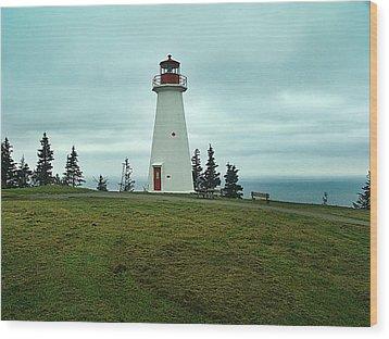Cape George Lighthouse Wood Print by Janet Ashworth