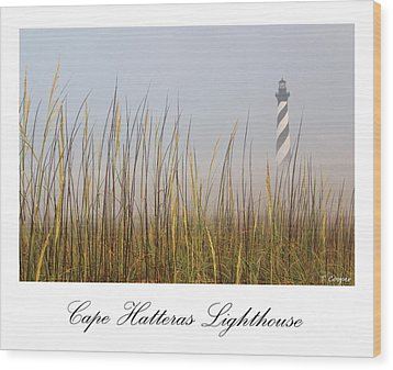Cape Hatteras Lighthouse In The Fog Wood Print by Tony Cooper
