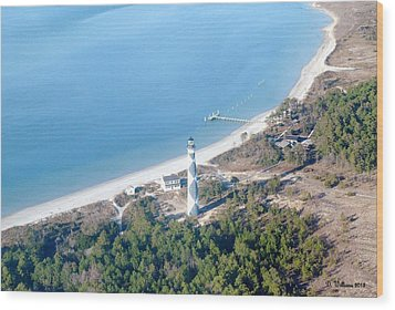 Cape Lookout Lighthouse Aerial View Wood Print