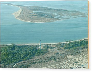 Cape Lookout Lighthouse From The Air Wood Print