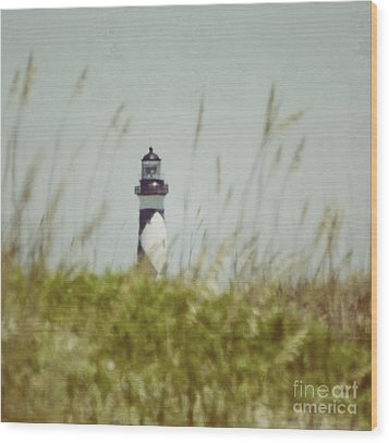 Wood Print featuring the photograph Cape Lookout Lighthouse - Vintage by Kerri Farley