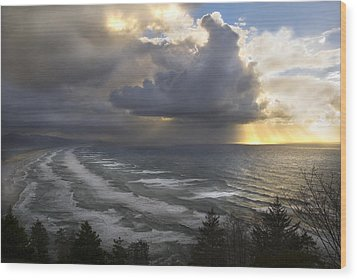 Wood Print featuring the photograph Sunset At Cape Lookout Oregon Coast by Yulia Kazansky