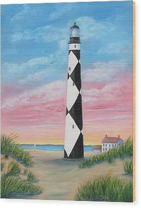 Wood Print featuring the painting Cape Lookout Sunset by Fran Brooks
