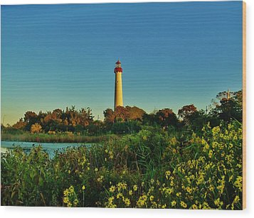 Cape May Lighthouse Above The Flowers Wood Print by Ed Sweeney