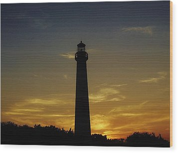Wood Print featuring the photograph Cape May Lighthouse At Sunset by Ed Sweeney