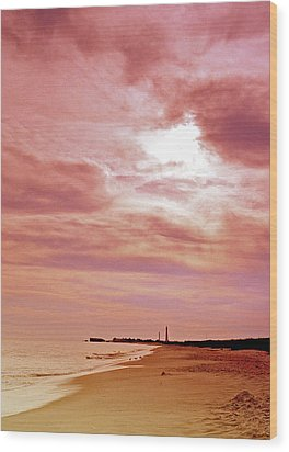 Cape May New Jersey Sunset With Lighthouse In The Distance Wood Print by A Gurmankin
