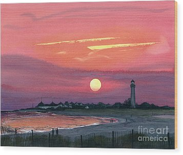 Cape May Sunset Wood Print by Barbara Jewell