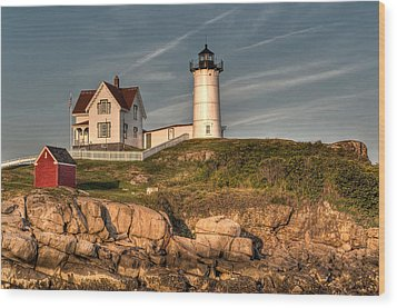 Cape Neddick Lighthouse In Evening Light Wood Print by At Lands End Photography