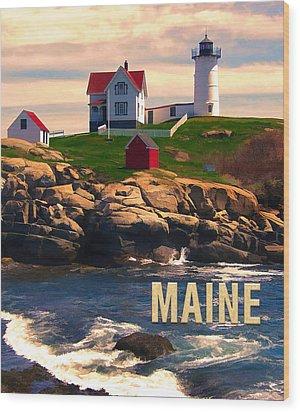 Cape Neddick Lighthouse Maine  At Sunset  Wood Print by Elaine Plesser
